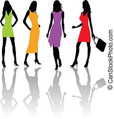 mode, filles, illustratio