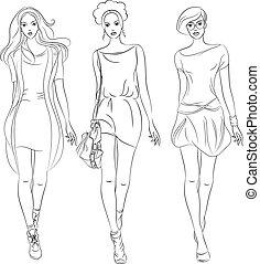 mode, filles, vecteur, robes, sommet, modèles, beau