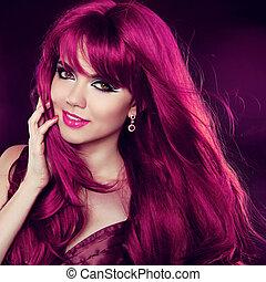 mode, hairstyle., beauté, bouclé, long, hair., portrait, girl, woman., rouges