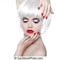 mode, hairstyle., beauté, maquillage, isolé, arrière-plan., lèvres, manucuré, girl, blanc rouge, nails.