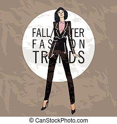 mode, hiver, tendances, croquis, automne, model.