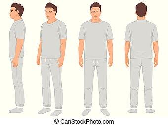 mode, isolé, dos, illustration, devant, vecteur, vue, côté, vêtements de sport, homme