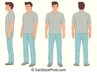 mode, isolé, dos, vue côté, devant, homme