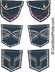 mode, jean, poche arrière, conception, dame
