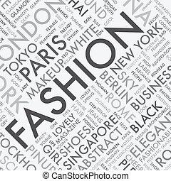 mode, mot, typographie, étiquette, t, nuage