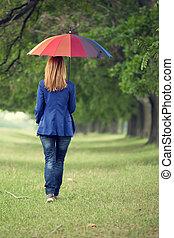 mode, parapluie, printemps, outdoor., jeune fille