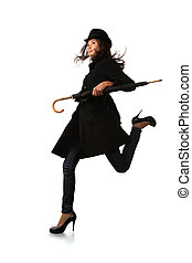 mode, parapluie, sur, courant, arrière-plan noir, modèle, blanc
