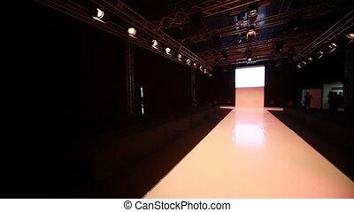 mode, podium, panoramique, modèle, horizontal, vide