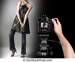 mode, professionnel, coup, studio photographe, model.