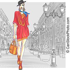 mode, rue., vecteur, séduisant, va, girl, petersburg