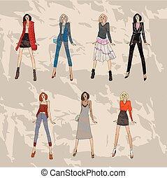 mode, set., hiver, tendances, croquis, automne, modèles
