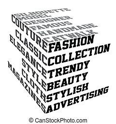 mode, termes, typographie