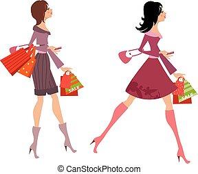 mode, ton, achat, filles, conception