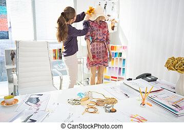 mode, vêtement, accessoires, concepteur, closeup, fond, table, décorer