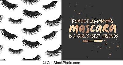 mode, vecteur, sur, doré, pattern., mèches, mascara, maquillage, ensemble, citation, seamless