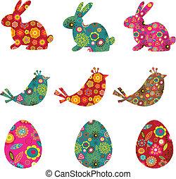 modelé, lapins, oeufs, oiseaux