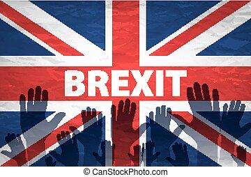 modelé, royaume, uni, deux, vignette, personnes, drapeau, communauté, tenant mains, ajouté, européen