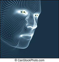 model., humain, technologie, design., avatar, géométrique, 3d, être, tête, utilisé, skin., portrait., grid., homme, couverture, géométrie, science, figure, personne, boîte, head., scanning., vue