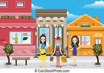 moderne, achats, femmes