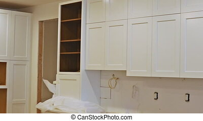 moderne, amélioration, intérieur, maison, remodeler, cuisine