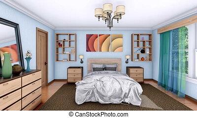 moderne, animation, conception, chambre à coucher, intérieur, 3d