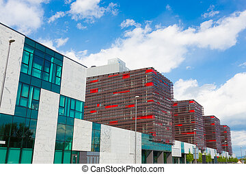 moderne, bâtiments., bureau