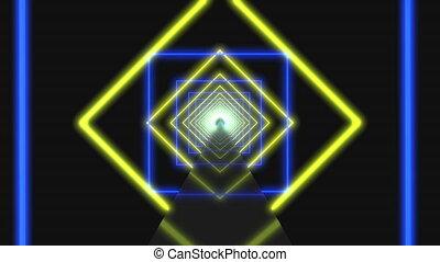moderne, carrés, voler, néon, coloré, luisant allumer, créer, par, boucle, jaune, 4k, bleu, animation., éclairage, tourner, tunnel