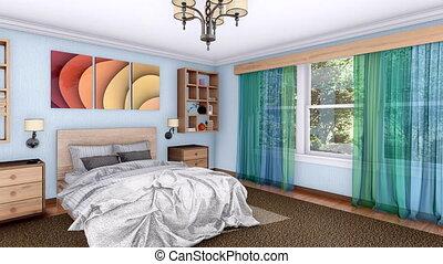 moderne, clair, animation, chambre à coucher, intérieur, 3d