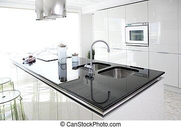 moderne, conception, propre, intérieur, blanc, cuisine