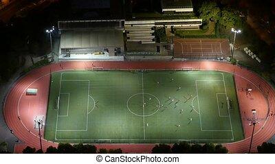 moderne, coup, paris, champ football, nuit, aérien, athlètes, jouer