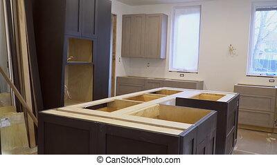 moderne, cuisine, intérieur, remodeler, amélioration, maison
