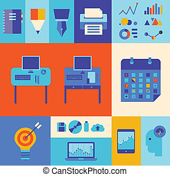 moderne, ensemble, illustration affaires, flot travail