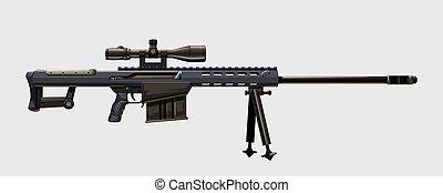 moderne, fusil, tireur embusqué, vue, côté