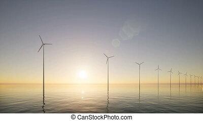 moderne, générateurs, industrie, vue, construction, vent, 3d, mer, aérien