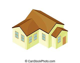moderne, house., illustration, arrière-plan., vecteur, beige, modèle, blanc