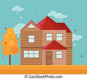 moderne, house., illustration, automne, vecteur, architecture, fond, façade