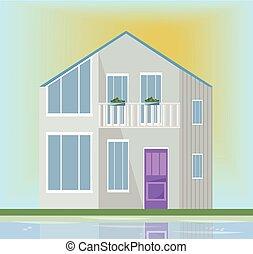 moderne, house., illustration, vecteur, coucher soleil, architecture, fond, façade, blanc
