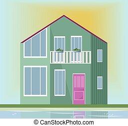 moderne, house., illustration, vecteur, vert, architecture, fond, façade, coucher soleil