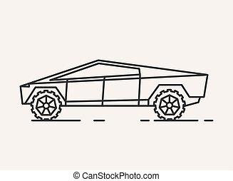 moderne, illustration., voiture