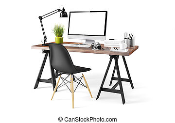 moderne, informatique, lieu travail, 3d