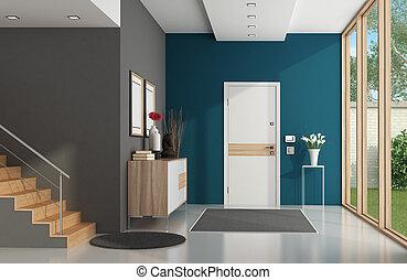 moderne, maison, entrée