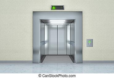 moderne, ouvert, portes ascenseur