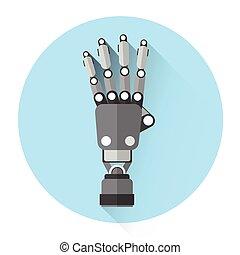 moderne, paume, robot, main, icône