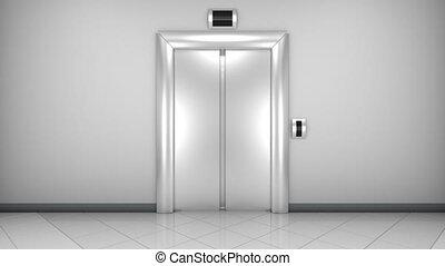 moderne, portes, elevator., loopable, ouverture