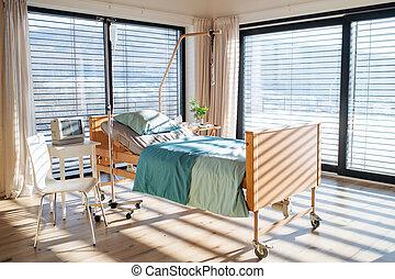 moderne, privé, hospital., salle, vide, réglable, lit