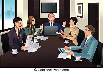 moderne, réunion, bureau affaires, équipe