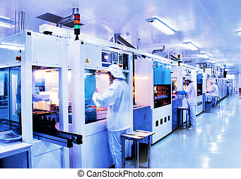 moderne, usine, silicium, production, solaire, automatisé, ligne