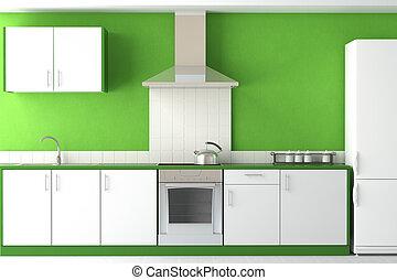 moderne, vert, conception, cuisine, intérieur