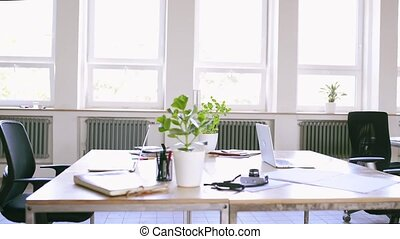 moderne, work., bureau, après, clair, intérieur, vide