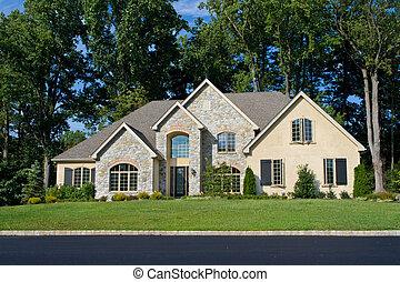 modernisé, maison, philadelphie, suburbain, nouveau, tudor, renaissance, famille seule, pa., style.